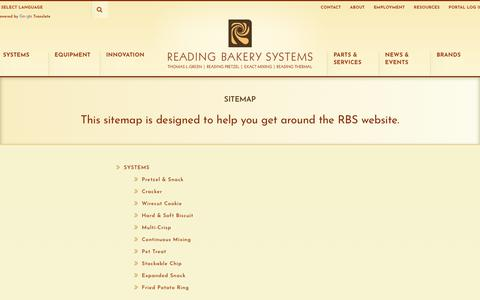 Screenshot of Site Map Page readingbakery.com - Sitemap - Reading Bakery Systems - captured Oct. 19, 2018