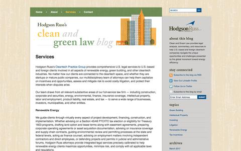 Screenshot of Services Page cleanandgreenlaw.com - Environmental Tax Credit & Financial Incentive Legal Services | Clean and Green Law Blog - captured Feb. 9, 2018