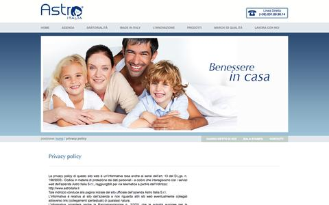 Screenshot of Privacy Page astroitalia.it - Astro Italia - Privacy Policy - captured Oct. 4, 2014