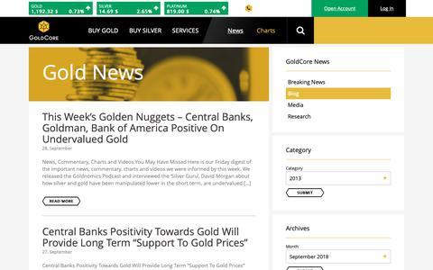 Screenshot of Blog goldcore.com - Gold News - GoldCore Gold Bullion Dealer - captured Sept. 29, 2018