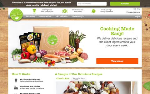 Screenshot of Home Page hellofresh.com - Delicious recipes and fresh ingredients delivered | HelloFresh - captured Sept. 16, 2014