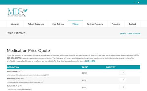 Screenshot of Pricing Page mdrusa.com - Price Estimate | MDR Pharmaceutical - captured Sept. 20, 2017