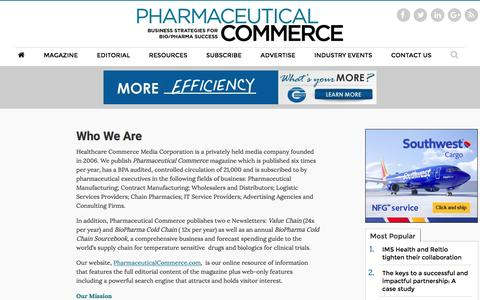 Screenshot of About Page pharmaceuticalcommerce.com - Who We Are - captured July 13, 2016
