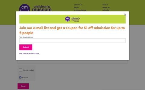Screenshot of Contact Page funmuseum.org - Contact Us - Children's Museum of La Crosse - captured Nov. 10, 2018