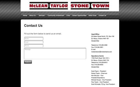 Screenshot of Contact Page snappages.com - McLean Taylor Construction - Contact Us - captured Oct. 27, 2014