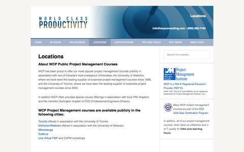 Screenshot of Locations Page wcpconsulting.com - Public Project Management Courses - captured Oct. 26, 2014
