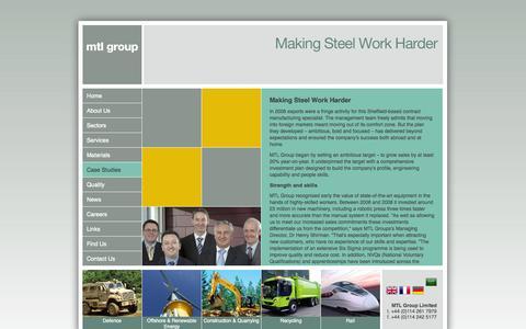 Screenshot of Case Studies Page mtlgrp.com - Job Opportunities at MTL Group, Metal Manufacturers UK - captured Oct. 3, 2014