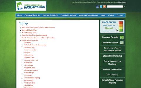 Screenshot of Site Map Page npca.ca - Sitemap - Niagara Peninsula Conservation Authority - captured Oct. 7, 2014