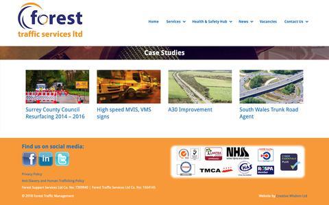 Screenshot of Case Studies Page forestsupportservices.co.uk - Case Studies - Forest Traffic Management - captured Oct. 10, 2018