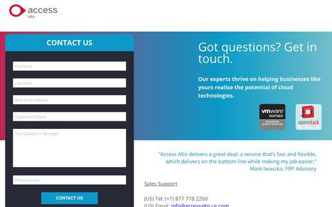 Screenshot of Landing Page theaccessgroup.com - World class enterprise cloud hosting - contact us - captured June 24, 2017