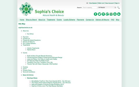 Screenshot of Site Map Page sophiaschoice.co.uk - Site Map - captured Sept. 21, 2018