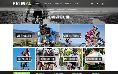 Screenshot of Products Page primaleurope.com - Primal Custom Cycling Apparel | Products - captured March 4, 2016