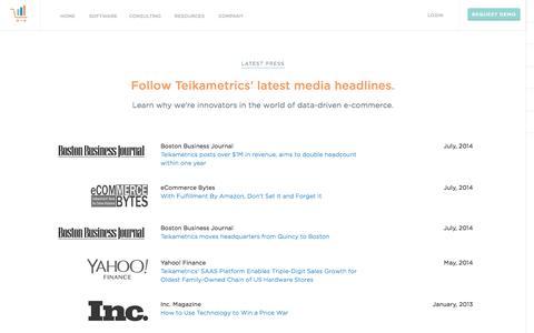 Screenshot of Press Page teikametrics.com - News and Press - Teikametrics - captured Oct. 26, 2014