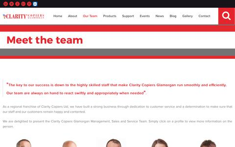 Screenshot of Team Page clarityglamorgan.com - Meet The Clarity Copiers Glamorgan Team | Staff Profiles | Kenfig Hill Industrial Estate Margam Head office | Newport Sales Team | Sales West |             Sales East | Marketing - captured Nov. 3, 2018
