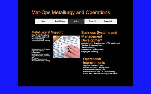 Screenshot of Services Page metops.com - MetOps | Services - captured Sept. 20, 2018