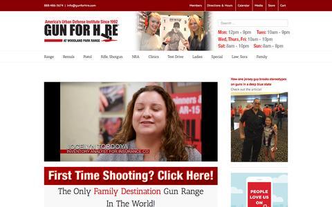 Screenshot of Home Page gunforhire.com - 6 Star Gun Range in NJ - captured Feb. 2, 2016