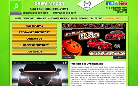 Screenshot of Home Page oremmazda.com - Orem Mazda Dealer | Orem Mazda (866) 933-7321  New & Used Mazda Dealer Serving Salt Lake City and Provo Utah - captured Oct. 9, 2014