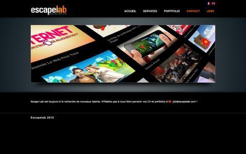 Screenshot of Jobs Page escapelab.com - jobs - Escape Lab - Digital ArtistsEscape Lab - Digital Artists - captured Dec. 11, 2015