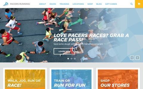 Screenshot of Home Page runpacers.com - Pacers Running | For EveryRun - captured Jan. 24, 2016