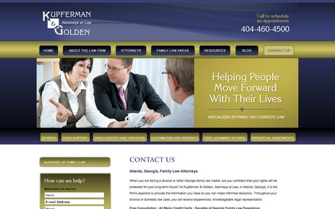 Screenshot of Contact Page kgfamilylaw.com - Contact Us | Kupferman & Golden, Attorneys at Law | Atlanta, Georgia - captured Oct. 6, 2014