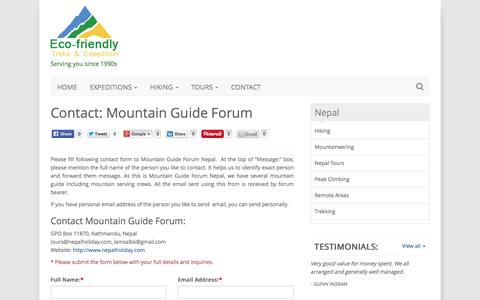 Screenshot of Contact Page nepalholiday.com - Mountain Guide Forum, Contact Mountain Guide Forum Nepal - captured Sept. 7, 2016