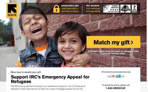 Screenshot of Landing Page rescue.org - Support IRC's Emergency Appeal for Refugees | International Rescue Committee - captured Feb. 7, 2017