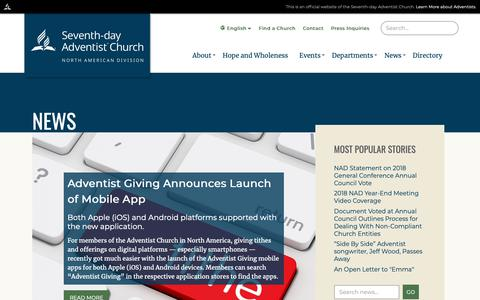 Screenshot of Press Page nadadventist.org - News | North American Division of Seventh-day Adventists - captured Nov. 15, 2018
