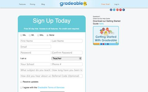 Screenshot of Signup Page Trial Page gradeable.com - Gradeable - captured Oct. 23, 2014