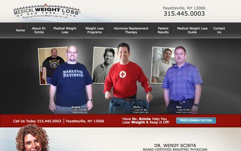 Screenshot of Home Page weightlosscny.com - Medical Weight Loss of New York in Fayetteville - captured Sept. 16, 2015