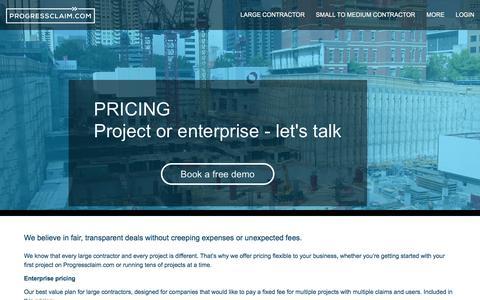 Screenshot of Pricing Page progressclaim.com - Pricing | Progressclaim.com : Progressclaim.com - captured July 6, 2016