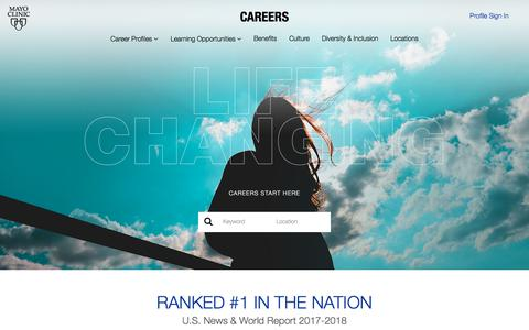 Screenshot of Jobs Page mayoclinic.org - Jobs | Mayo Clinic | Life-Changing Careers - captured Jan. 4, 2018