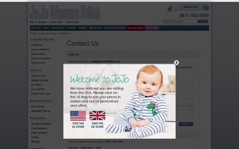 Screenshot of Contact Page jojomamanbebe.co.uk - Contact Us | JoJo Maman Bébé - captured Aug. 7, 2016