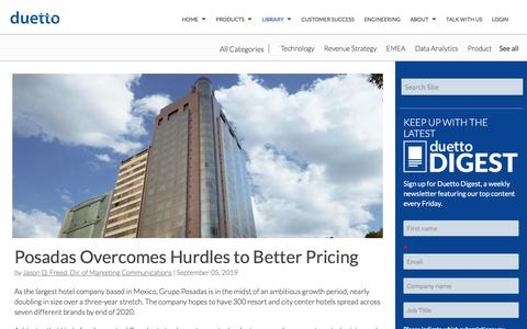 Screenshot of Pricing Page duettocloud.com - Posadas Overcomes Hurdles to Better Pricing - captured Jan. 6, 2020