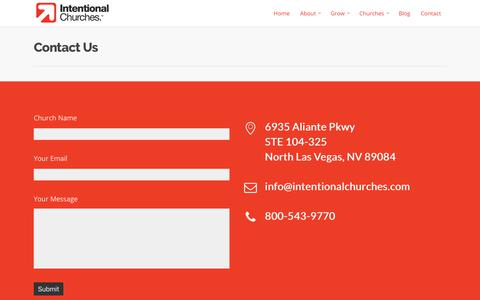 Screenshot of Contact Page intentionalchurches.com - Contact - Intentional Churches - captured Sept. 19, 2018
