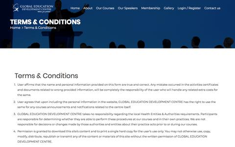 Screenshot of Terms Page gedc.ae - Terms & Conditions - Global Education Development Center - captured Sept. 26, 2018
