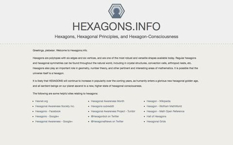 Screenshot of Home Page hexagons.info - Hexagons and Hexagon-Related Information for the Hexagonally Inclined. Hexagons. | Hexagons.info - captured Jan. 26, 2015