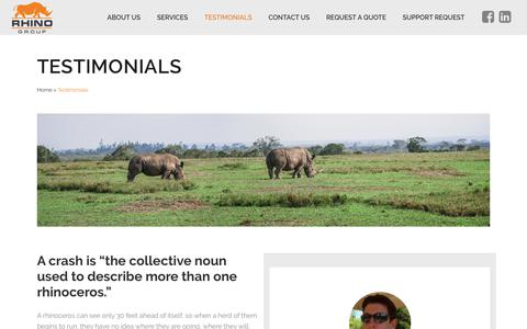 Screenshot of Testimonials Page rhinogroup.com - Rhino Group Web Development   Testimonials   Start Charging - captured Oct. 11, 2018