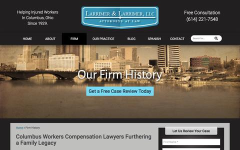 Screenshot of About Page larrimer.com - Ohio Workers Compensation Lawyer Furthers Family Legacy - captured July 15, 2017