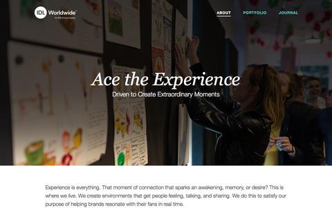 Screenshot of About Page idlww.com - Retail Design | IDL Worldwide - captured Sept. 30, 2017