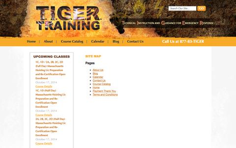 Screenshot of Site Map Page tigertrainingcorp.com - Site Map | Tiger Training Corp - captured Oct. 9, 2014