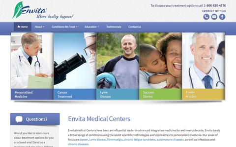 Screenshot of Home Page envita.com - Envita Medical Center - captured Sept. 24, 2014