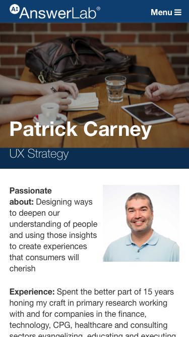 Screenshot of Team Page  answerlab.com - Patrick Carney