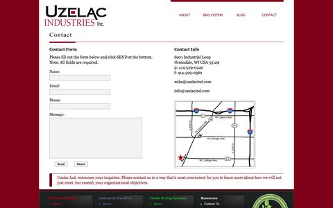 Screenshot of Contact Page uzelacind.com - Uzelac Ind. - Contact - captured Oct. 7, 2014