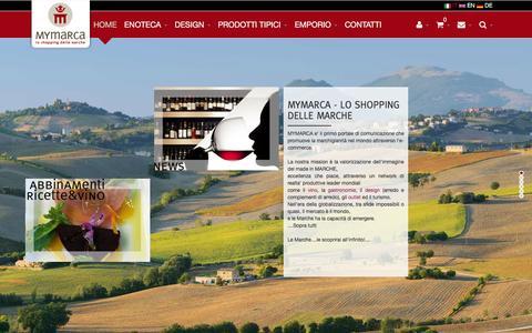 Screenshot of Home Page mymarca.it - Mymarca | Portale di e-commerce dei prodotti di eccellenza della regione Marche - captured March 12, 2016