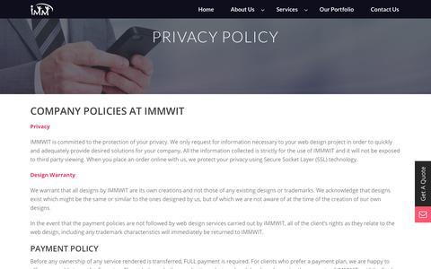 Screenshot of Privacy Page immwit.com - Privacy - IMM Web Information Technology - captured Sept. 30, 2017