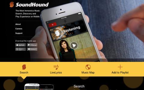 Screenshot of Home Page soundhound.com - SoundHound Inc. - captured July 11, 2014