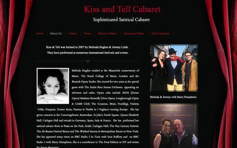 Screenshot of About Page kissandtellcabaret.com - Satirical Cabaret for parties. - Kiss and Tell Cabaret - captured Oct. 15, 2018
