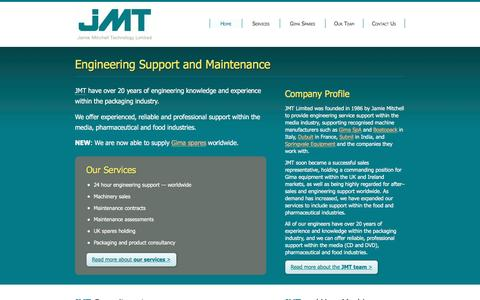 Screenshot of Home Page jmtengineering.com - Engineering Support and Maintenance : Jamie Mitchell Technology Ltd - captured May 27, 2017