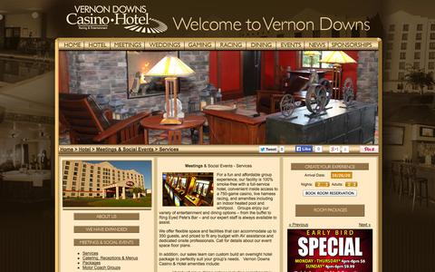 Screenshot of Services Page vernondowns.com - Vernon Downs Casino & Hotel - Meetings and Social Events Services - captured Oct. 26, 2014