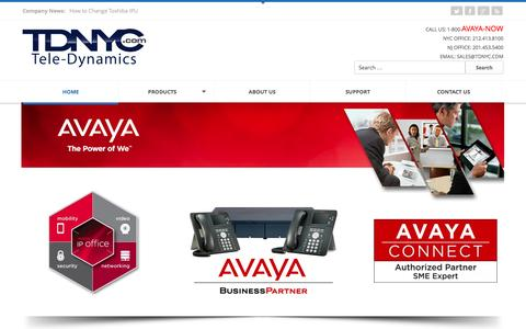 Screenshot of Home Page tdnyc.com - Tele-Dynamics | Avaya Dealers in New York and New Jersey - captured Sept. 24, 2014